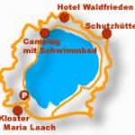 Kartenausschnitt: Kloster Maria Laach, Camping mit Schwimmbad, Schutzhütte, Hotel Waldfrieden