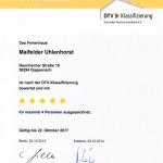 Urkunde vom Deutschen Tourismusverband für das Ferienhaus Maifelder Uhlenhorst bewertet mit 5 Sternen